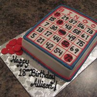 Bingo Cake This is just a fun cake I did for a friend. We are going to a charity bingo tonight and it's her birthday. All buttercream but the...