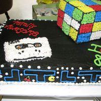 80's Cake Found the ideas for this cake on here. Loved the cake except for the cassette tape and please excuse the mess in the background (I was...