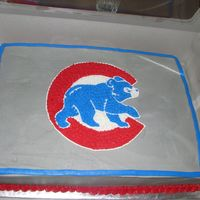 Cubs Cake I made this for my sons Tball party. It was a big hit. All done in buttercream.