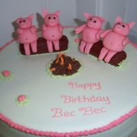 Piggys Chocolate sponge, covered in sugarpate, sugarpaste piggys and logs and RI fire and flowers.