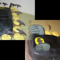 Batmobile I made this for my nephew's 5th bday. Details are white chocolate with black coloring. Used the Wilton car cake pan. Batman emblem is...