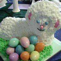 Easter Lamb Bc icing with fontant for the eyes ,ears and nose.Eggs filled with candy