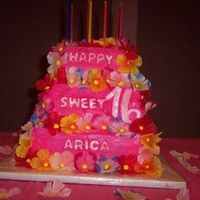 Aloha Sweet 16 Ths was my very first tiered cake.Buttercream icing, fandant letters, and silk flowers.I was pretty pleased with the outcome, and thatit...
