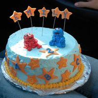 Elmo And Cookie Monster Made this for my daughter's second birthday party. She loves Sesame Street. BC with fondant accents. TFL!