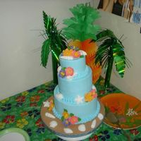Tropical Themed Bridal Shower  4in layers, 4,6,8. Another cake for my girlfriend getting married in Jamaica. buttercream with fondant shells (Wilton shell mold) and the...
