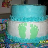 Side View Of 1St Baby Shower Cake This is the side view of my cake. Thanks to CC for the baby feet templates & all the advice that I received!!