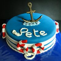"Anchor Cake For someone who loves to sail, just to work in the navy and it had to be a ""stylish"" cake for a man... well I hoped this would be..."