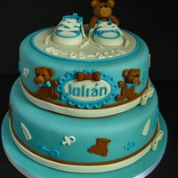 "Blue For A Boy! For Julian, a babyshower cake with ""boyish"" colours, loved making it. The little sneakers were so much fun to make and I was very..."