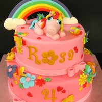 My Little Pony (Rainbow) I loved making this all pinky cake ;-) Makes you feel like a little girl again :-) The my little pony and the rainbow are made of gumpaste...