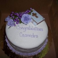 Confirmation Cake fondant covered cake with gumpaste grape cluster and lilac roses