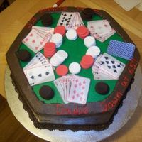 Poker Table Marble cake, chocolate buttercream icing, fondant poker chips, edible wafer paper cards and it was all shipped to Florida from Rhode Island...
