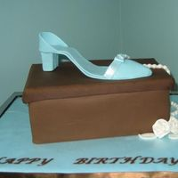 Blue_Shoe_Brown_Box_Wm.jpg Critique subgroup member: Chocolate cake with chocolate fondant box -- gumpaste shoe, pearls, and letters. Fondant fabric roses with luster...