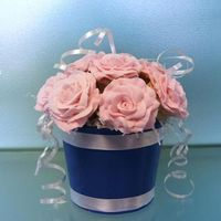 Rkt Model: Cupcake Bouquet Display model of a cupcake bouquet --- RKT pressed into mini cupcake pan to make cupcakes -- buttercream roses (made with powdered sugar...