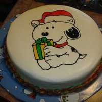 Snoopy Christmas Frozen Butter Cream Transfer on Chocolate cake