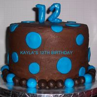 Butter Cake With Chocolate Buttercream And Rbc Dots 8 inch 6in high butter cake with chocolate frosting