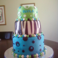 Kayla's 13Th Birthday Blue Circle, Zebra, Green Circle 3 Tiers pound cake, Vanilla bean, and Lemon 10x8x6 Covered in MMF.