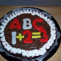 Brownie Cake Brownie Cake made for my son's kindergarten class. The letters and numbers are RBC placed on while it was still warm. This was a last...