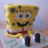 3D Sponge Bob Sponge bob was done in rolled fondant.
