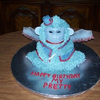 Flying Monkey 3D bear pan, iced in buttercream with gumpaste details. Tail is wire covered in gp. I made this for my son-in-law that is phobic of the...