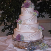 Wedding Cake With Drapes Buttercream with fondant drapes
