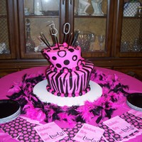 "Pink And Black Whimsy Birthday Cake Iced in buttercream with fondant accents. ""3"" and ""0"" are sparklers."