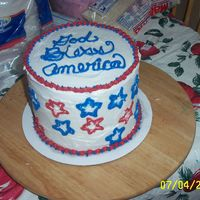 Red, White, And Blue.... Red, white, and blue Frendh Vanilla layered cake with Creme Bouquet BC icing. I wanted to try brush embroidery, ao since this was just for...
