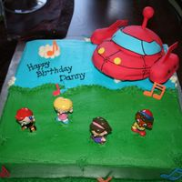 Little Einsteins  This was for my son's 2nd birthday party! The cake is really split down the middle...half chocolate cake with ganache filling &...