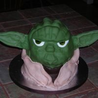 Yoda Sculpted cake covered in fondant with dried fondant ears. Design inspired by MaryAnn.