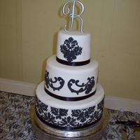 Black & White Damask My daughter's wedding cake which would not have happened if it had not been for my friends NonnieD and Mac. They really came to the...