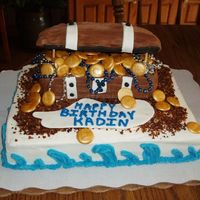 Pirates Chest A cake for my nephew. He wanted a pirate theme and I didn't have time for a ship so this is what I came up with. The money is candy...
