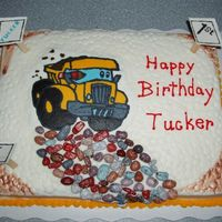 Dump Truck Cake This is a cake I made for my great nephew. My niece ask me to do something with the dump truck that was on the invitation. It is a yellow...