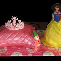 Snow White Snow white with princess tiara on the pillow.