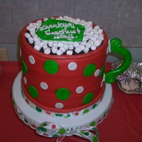 Teacher Appreciation Luncheon Four 9 in rounds, covered in fondant with marshmallow and fondant accents. Cup of hot cocoa cake made for my daugher's school for the...