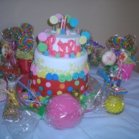 Candyland Themed 1St Bday Cake Cake is covered in fondant with fondant and handpainted accents.