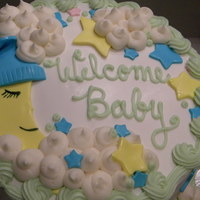 Goodnight Moon Dbl 9 in rounds decorated with buttercream and fondant accents for a baby shower.