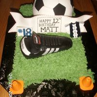 Soocer Themed Birthday Cake Soccer ball was made using the Wilton ball pan covered in fondant. Banner, numbers, and jersey, were gumpaste. Cleat was carved with cake...