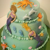 Mckaylas And Jailyns Mermaid Cake My girls were so excited to pick the cake they wanted me to make! It was inspired by a book I have. The mermaids, coral, and octopus were...