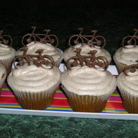 Birthday For Avid Mountain Biker Pumpkin pie cuppies w/ hand made chocolate bicycles.