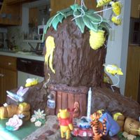 Tigger And Pooh Bear With Friends At The Hunny Tree White cake, raspberry filling, Chocolate buttercream and semi-sweet chocolate, and Hersey's milk chocolate coatings.Fondant , along...