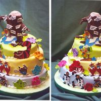 Alice And The Mad Hatter  Tippy Mad Hatter cake featuring Alice, the Mad Hatter, the Cheshire Cat, Tweedle Dee & Tweedle Dum, the White Rabbit, the Queen and her...