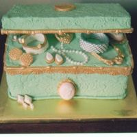 Jewelry Box This cake was being chanced off at our school's fair for Mother's day. The jewely was made of fondant and painted with gold and...