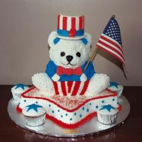 Patriotic Bear This cake was made for a 3yr old boy celebrating his birthday on the 4th of July. The bear was baked in the stand up bear pan and was...