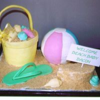 Beach Ball/bucket This cake was for a baby shower. The mom-to-be lives at the shore. The beachball was made using the ball pan, the bucket was made using a 4...