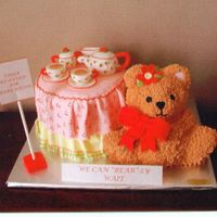 Bear Tea Party This cake was for a baby shower at a tea room with a bear theme.