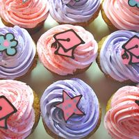 Graduation Party Cupcakes Cupcakes featuring graduation-themed decorations created in chocolate....