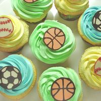 Cupcakes For Sports-Themed Party Cupcakes decorated with different balls ... created for a little boy's birthday celebration....