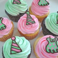 Party Dress Cupcakes Cupcakes created for a little girl's birthday party...featuring chocolate polka dot dresses and party hats.