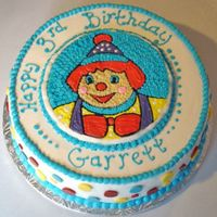 "Gymbo The Clown Designed this one for a birthday celebration at the local Gymboree.... 14"" cake with three layers of chocolate fudge cake and vanilla..."