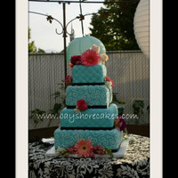 "Teal And Black Wedding Cake   Thanks for looking! 12""/10""/8""/6"""