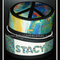 "Peace Sign Birthday Cake   14""/12"" cakes. Marbled fondant. Thanks for looking!"